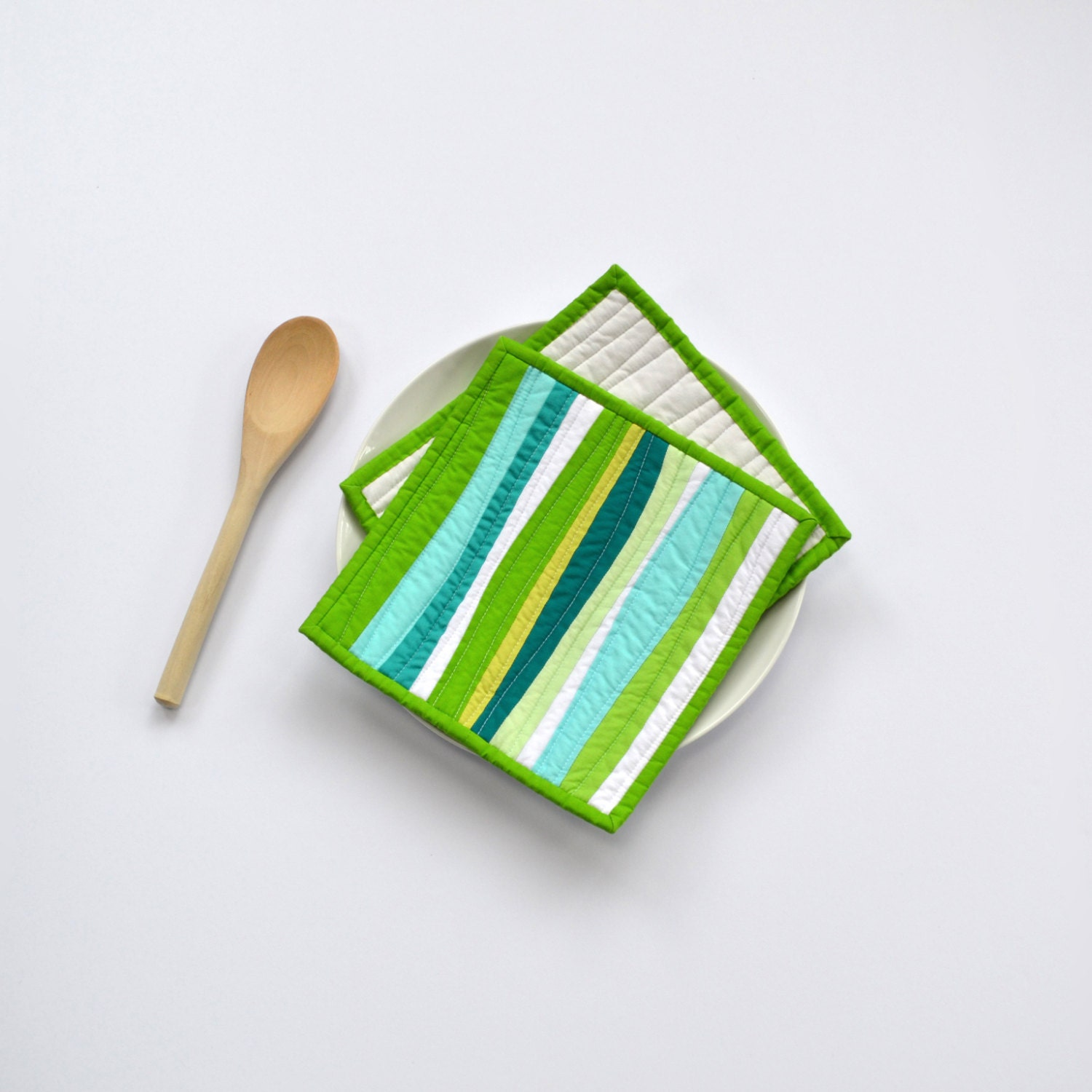 Green Pot Holders Quilted Pot Holders Modern Kitchen Decor