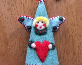 Angel Christmas Cone Ornament Needle Felted On Blue Felt
