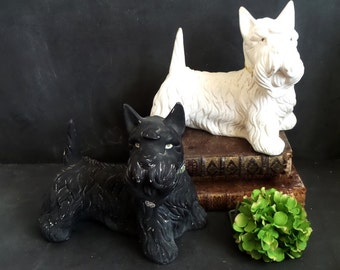 Large Vintage Scottish Terrier Dogs Black and White Scotch Whisky Advertising. Scottie Dog figurines. Chalkware statue . Man cave decor