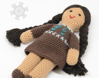 Native American Doll - All Natural Toy - Handmade Indian Doll