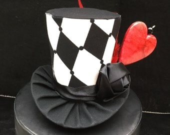 Queen of Hearts Mad Hatter Mini Top Hat. Great for Birthday Parties, Tea Parties, Photo Prop, Girls Night Out and Much More...