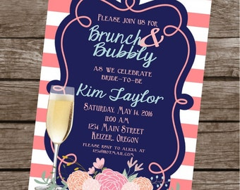 BRUNCH & BUBBLY Mimosa Bridal Wedding Shower Bachelorett Themed Invitations Set of 12 {1 Dozen} Coral Navy Party Packs Available
