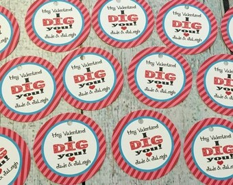 I DIG YOU Shovel Valentine's Day Treat Tags or Stickers Set of 12 {One Dozen} - Party Packs Available