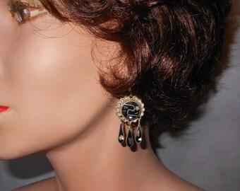 Mexican Alpaca Earrings, abalone shell dangle earrings, signed Abalone Mexico, abalone inlaid in black enamel, french wire earrings