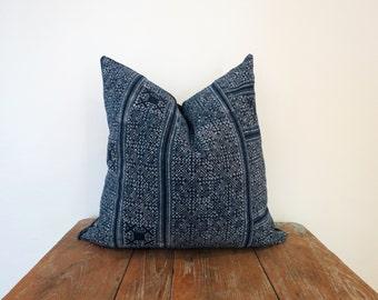 Hmong Indigo Batik Pillow-Cushion covers, Natural Indigo Batik, Tribal, Indigo- Hmong Accent Pillow - Tribal Decor