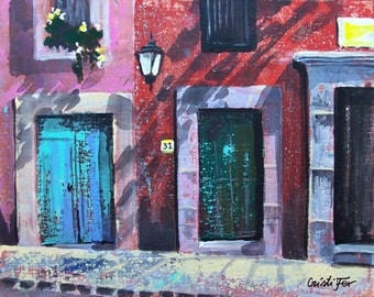 "Painting of 3 doors in San Miguel de Allende Mexican town original art acrylic on board 11 ""x 14"""