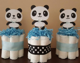 3 Light blue and black Panda theme mini diaper cakes, baby shower centerpiece, decoration