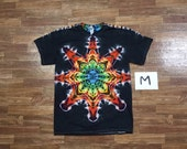 Tie Dye T-Shirt ~ Rainbow Mandala With Black Background ~ i2294 in Adult Medium