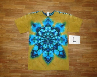 Tie Dye T-Shirt ~ Aqua Mandala With Palomino Gold Background ~ 05543 in Adult Large