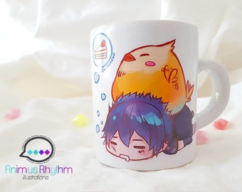 Mini Ceramic Mug: Final Fantasy 15 Noctis and Fat Chocobo game