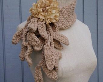 Scarf, crochet  scarf, handmade scarf, flower scarf, women scarf, gift, wrap, accessories scarf,