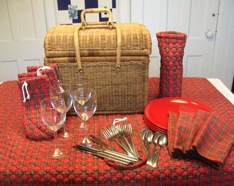 Vintage Wicker Basket Picnic Set for 4 Red Plaid Accessories Outdoor Picnic Wedding Gift