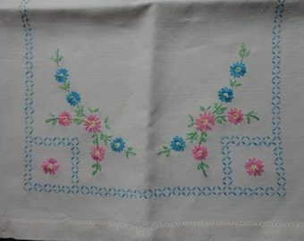 Heavy  Linen Hand Embroidered Runner Aqua and Pink Hemstitched