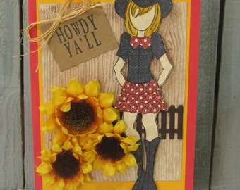 Howdy Yall Greeting Card Julie Nutting Doll Country Girl