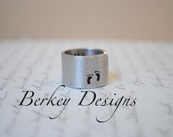When they Placed You in my Arms...You slipped into my Heart Custom Secret Message Hand Stamped Ring