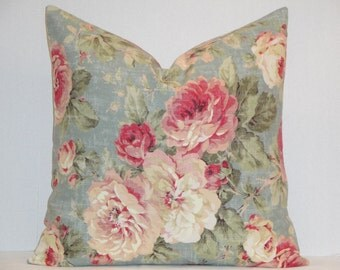 BOTH SIDES Decorative Pillow Cover - Teal pink peony Floral shabby chic cottage rose - French Country English throw pillow