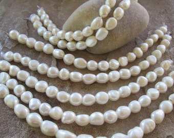 "Freshwater Creamy White Baroque Pearl Large Hole Bead 2 MM Large Hole 7.5"""