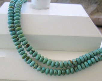 """Natural Turquoise Bead  6 mm Rondelle Soft Blue Green 8"""""""