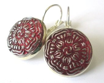 RED glass vintage button earrings, Czech glass buttons, silver lever backs