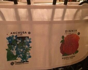 Ladies Carpenter Canvas Apron featuring Vintage Flower Seed Packet Art {Teacher, Vendor, Money, Utility, Half Apron} Anchusa & Zinnia