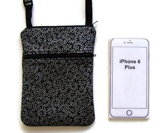 Metallic Silver on Black, Cross Body Purse, Cell Phone Bag, Small Purse, iPhone Case, Extra Long Strap, Hipster