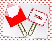 Planner Clip (Sold Individually) - XOXO Hugs and Kisses paperclip - Pocket Letter Clip - Valentine's Love Letter - Bookmark - Gift Tag
