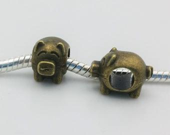 3 Beads - Pig Swine Animal Bronze European Bead Charm E1494