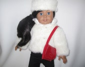 """Faux fur jacket, hat and purse for 18"""" dolls fully lined winter white RTS New for 2016"""