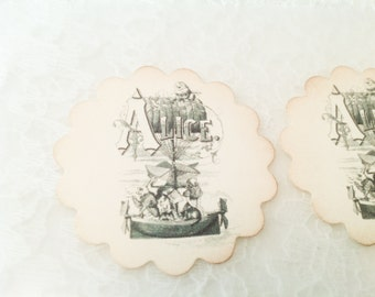 Alice in wonderland stickers-Alice in Wonderland envelope seals-set of 12