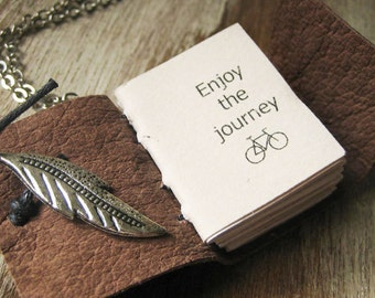 Enjoy the journey book necklace inspirational jewelry miniature book journal with quote handstiched leather journal necklace for women