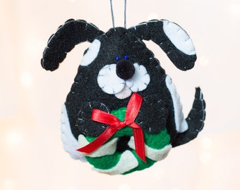 Felt Dog Ornament - Black and White