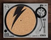 Turntable Slipmat - Ziggy  engraved Cork turntable slipmat with Reversable fabric Back