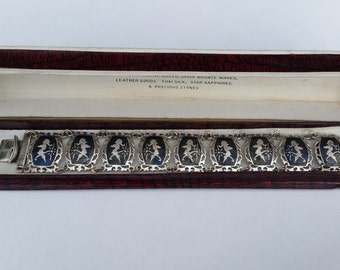 Siam Sterling Silver Bracelet. Vintage Niello, Nielloware Jewelry. Boxed Gift.