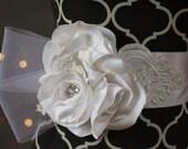 Bridal Sash -White bridal sash with vintage bridal lace appliqués, rhinestone accents & horse hair detailing