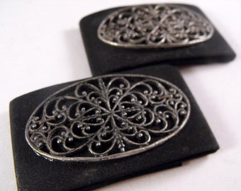 Set Of Two Matching Vintage Black Fabric And Silver Metal Filigree Design Shoe Clips