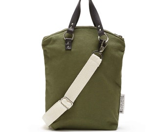 Handmade khaki shoulder bag convertible into backpack with black leather handles