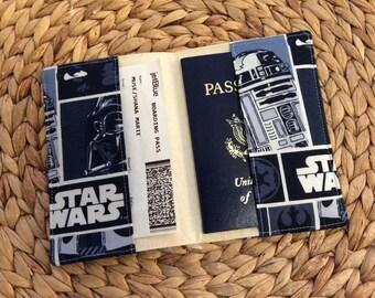 Star Wars Passport Cover - Passport Holder - International Travel - R2D2 Darth Vador - Best Friend Gift - Star Wars Fan Gift Passport Wallet