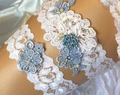 Wedding garter set/Garter belt/Garter set/Vintage wedding garter set/ Bridal garter set/Lace garter/Wedding garter blue /White garter
