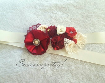 Flower maternity sash/ belt sash  10% off with code SAVE10