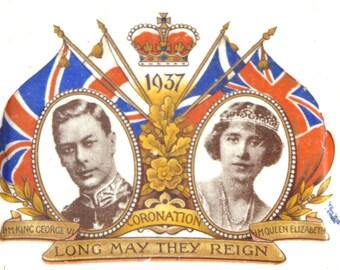 1937 Ashtray for the Coronation of King George VI Made in England Royal Souvenir Vintage Royalty Smoking Tobacciana Queen Elizabeth