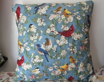 Quilted Birds and Flowers Pillow Cover