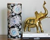 Large Vintage Asian Vase Famille Noire Large Black Cylinder Decorataive Floral Chinoiserie Bohemian Decor