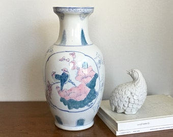 Large Vintage Chinoiserie Vase Pastel Floral Asian Decorative Flower Vase