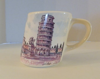 Leaning Tower Of Pisa Coffee Cup Mug Made In Italy Collectable Souvenir