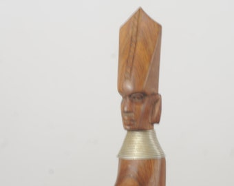 Vintage Metal And Wood Bottle Opener Carved Wood  Egyptian Man