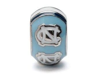 Blue and White North Carolina Rameses Bead Charm - Fits Pandora