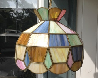 Vintage Tiffany Style Glass Hanging Light Fixture - Multi Colored Glass Ceiling Chandelier