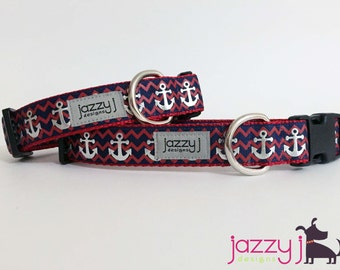 Silver Anchors Dog Collar