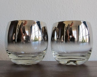 Vintage Barware - Silver Ombre Roly Poly Glasses - Pair