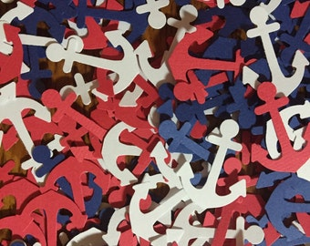 Anchor Confetti / Paper Anchors / Die Cut Punch Anchors / Red White & Blue Patriotic Nautical Confetti / 4th of July / 150+ Pieces